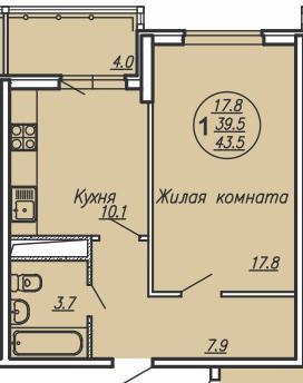 """планировка квартиры в ЖК """"Маршал"""""""