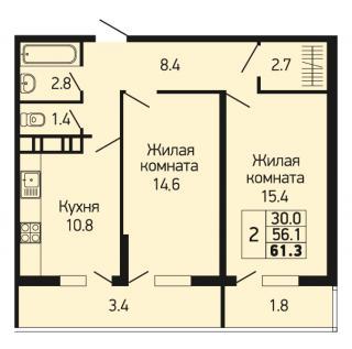 """планировка квартиры в ЖК """"Абрикосово"""""""