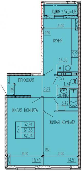 "планировка квартиры в ЖК ""Краски"""
