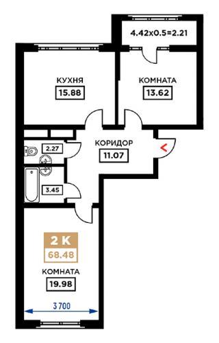 """планировка квартиры в ЖК """"Сердце"""""""