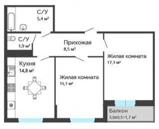 """планировка квартиры в ЖК """"Любимый дом"""""""